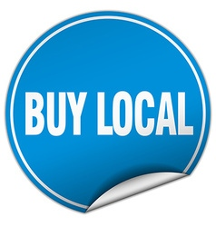 Buy local round blue sticker isolated on white vector
