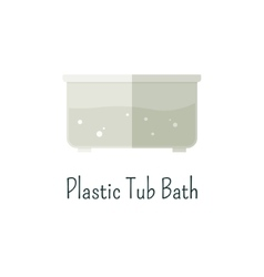 Plastic tub bath flat icon isolated color vector