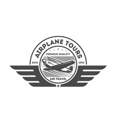 airplane vintage isolated label vector image vector image