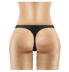Cellulite women ass in black panties vector