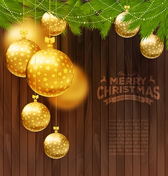 Christmas balls on wooden background vector image vector image