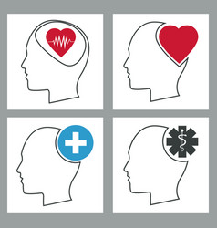 Collection human head brain healthcare medical vector