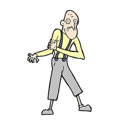 Comic cartoon old man having heart attack vector