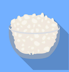 Cottage cheese in the bowl icon in flat style vector