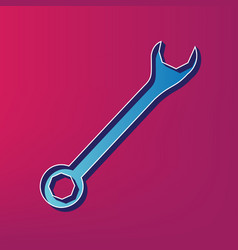 Crossed wrenches sign blue 3d printed vector