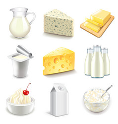 Dairy products icons set vector image vector image
