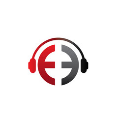 E letter dj in headphone logo template vector