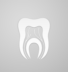 Emblem tooth with channel and vein vector