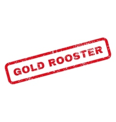 Gold rooster text rubber stamp vector