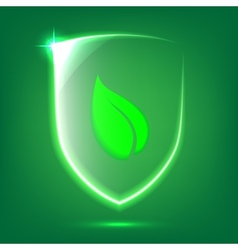 Green glass shield vector image vector image