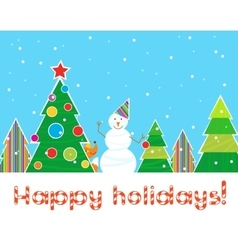 Greeting christmas card snowman in the forest vector