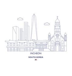 Incheon linear city skyline vector