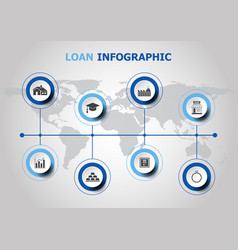Infographic design with loan icons vector