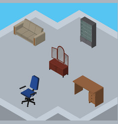 isometric furniture set of couch sideboard vector image