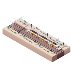 isometric train station vector image vector image