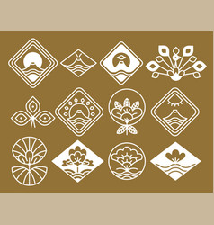 Japanese icons with natural and floristic motifs vector