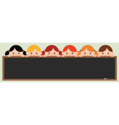 Kids holding a blackboard vector