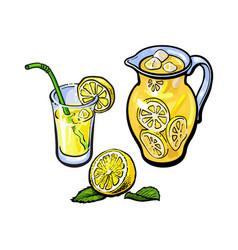 lemonade jug glass of lemon juice straw vector image