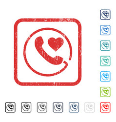 Love phone icon rubber watermark vector