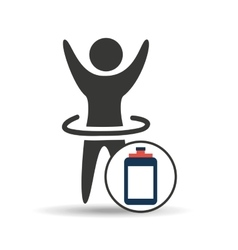 man hand up silhouette with clipboard icon design vector image