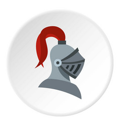Medieval knight helmet icon circle vector