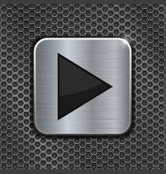 metal square play button on perforated background vector image vector image