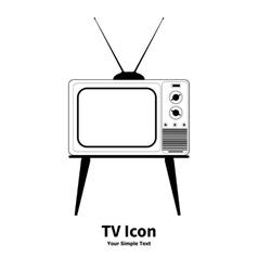 old retro TV icon vector image