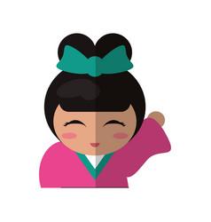 Portrait doll kokeshi geisha girl vector
