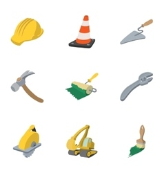 Road tools icons set cartoon style vector