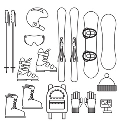 Ski and snowboard gear line icon set vector