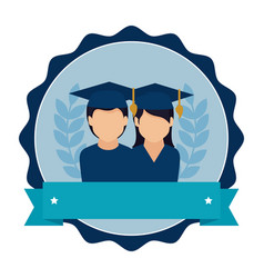 Stamp frame with couple people graduated and vector