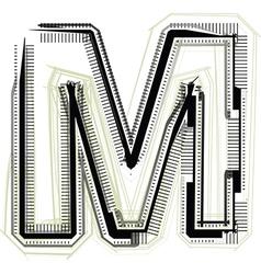 Technological font letter m vector