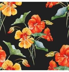 Watercolor nasturtium flower pattern vector