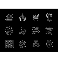 White line x-mas icons set vector