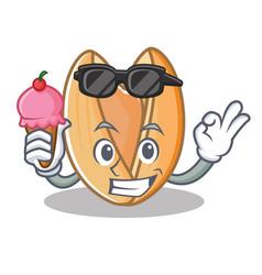 With ice cream pistachio nut character cartoon vector