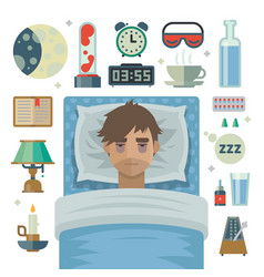 young man with sleep problem insomnia and items vector image vector image