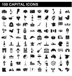 100 capital icons set simple style vector image vector image
