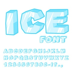 Ice font cold letters transparent blue alphabet vector