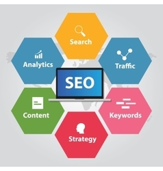Seo search engine optimization analytics traffic vector