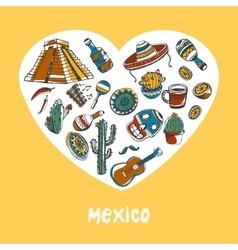 Mexico colored doodles collection vector