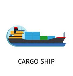 Cargo ship in flat style vector