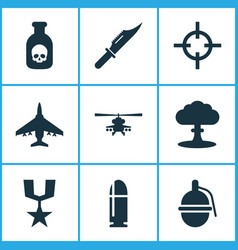 Battle icons set collection of target slug vector