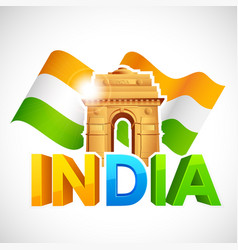 India gate with tricolor flag vector