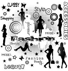 Fashion advertisement with women silhouettes vector