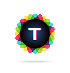 Retro bright colors logotype letter t vector