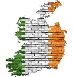 Ireland map on a brick wall vector image