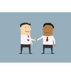 Two cartoon businessmen shaking hands vector