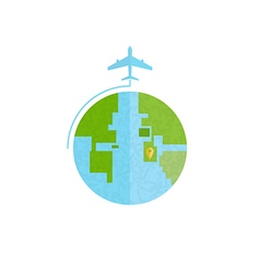 Around the world travelling by plane flat icon vector