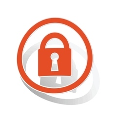 Locked sign sticker orange vector