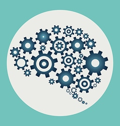 Brain build out of cogs and gears vector